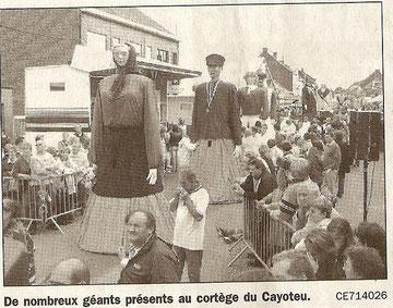 Zante et Rinette au 30ème cortège du Cayoteù de Lessines (article du Courrier de l' Escaut)