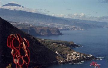 Ein Panorama-Blick auf Teneriffas Nord-West-Küste mit dem Teide und rechts im Hintergrund Puerto de la Cruz