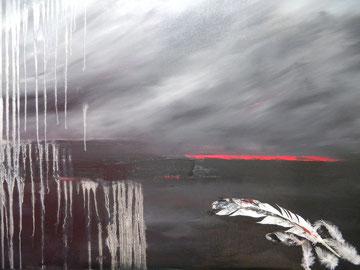 """""""Olim lacus colueram"""" - Huile et collage - 100 x 80"""
