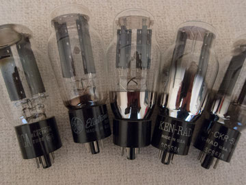 NOS 5U4G: RCA, Cryo'd GE, Russian Military, Ken-RAD, Ken-RAD VT-244 (left to right)