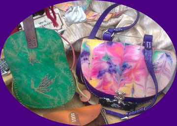 all leather, hand made painted fairy bag, marbled bag