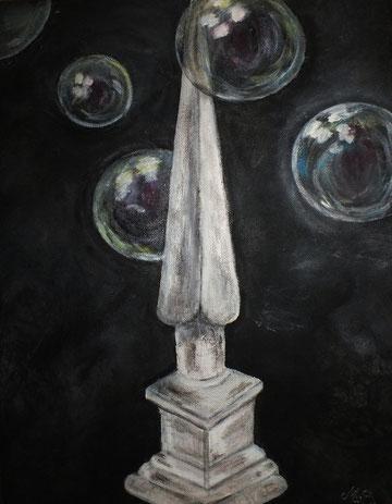 ZU VERKAUFEN Obelisk mit Seifenblasen 30 x 40 cm    120,-- €
