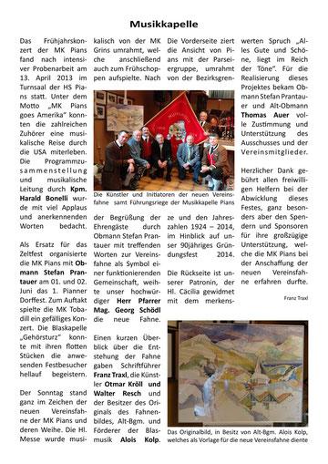 Bericht Gemeindezeitung Pians, Ausgabe 54, 02/2013