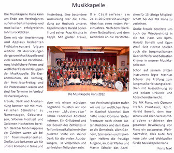 Bericht Gemeindezeitung Pians, Ausgabe 52, 02/2012