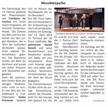Bericht Gemeindezeitung Pians, Ausgabe 53, 01/2013