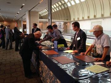 神氣館は懇親会受付を担当しました。出席者130名(ホテルグランビア大阪)