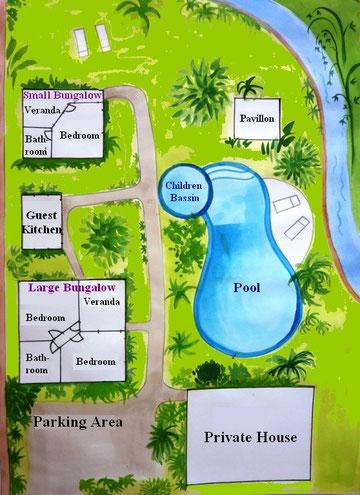 Grundstücksplan: Anordnung von Bungalows, Kueche, Garten, Pool