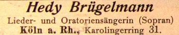 Künstleranzeige, Januar 1907 (Rheinische Musik- und Theaterzeitung)