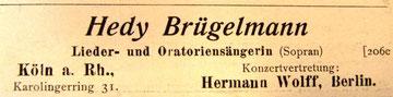 Künstleranzeige, November 1907 (Rheinische Musik- und Theaterzeitung)