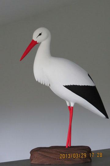 oiseau en bois cigogne blanche
