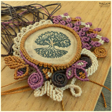 médaillon linogravure collection macramé bijoux broche arbre bois nature
