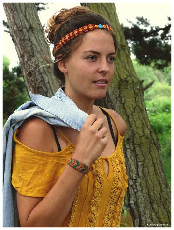 kp kitsch-paradise artisans créateur accessoire de cheveux headband macramé pierre stone turquoise