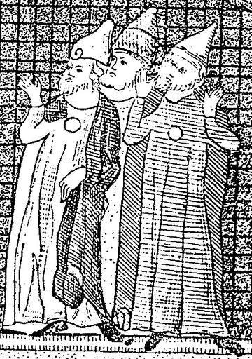 """Mittelalterliche Sondertracht mit Spitzhut und """"Judenring""""  (aus: Die Juden in der Kunst Europas, S. 97)"""