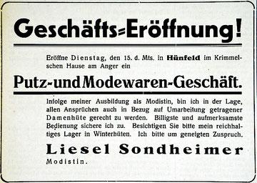 Annoncen im Hünfelder Kreisblatt vom 15. und 23. November 1932