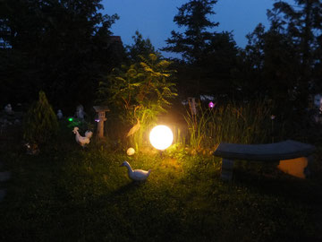 Am Abend wird unser Teich und Garten bunt beleuchtet.