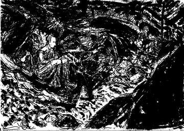 Charlotte Pauly, O.Weddigen beim Zeichnen