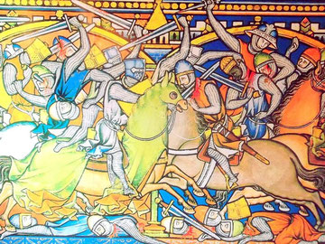 Mittelalterliche Kampfszene - Tafel im Museum Perelada