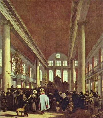 Emanuel de Witte, Portugiesische Synagoge Amsterdams, um 1680. links die Teva, wie der Vorlesepult in der sephardischen Synagoge heißt, vorne der Toraschrein