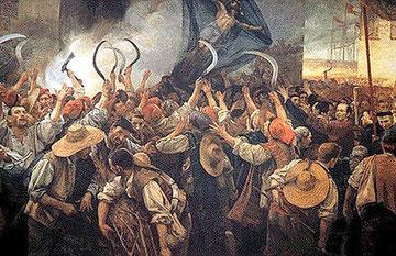 Antoni Estruc i Bros, Corpus de Sang (Frnleichnam, Anfang des Krieges der Schnitter 1640), Gemälde 1907