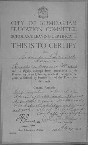 Sidney Bardell's school leaving certificate