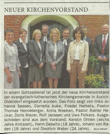 OZ vom 13. Juni 2012 (Es heißt aber: Cordula Aulke und Friedel Harberts).