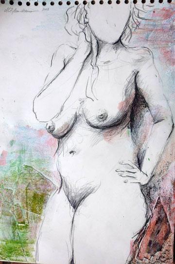 Junge Frau, Mischtechnik mit Collage, 2003.
