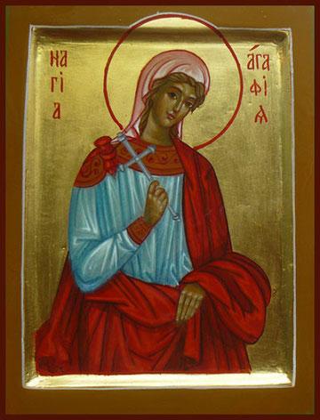 святая Агафья - мученица (покровительница домашнего скота), способствовала благополучному отелу