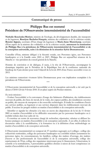 Communiqué de presse du Ministère, 10.11.11