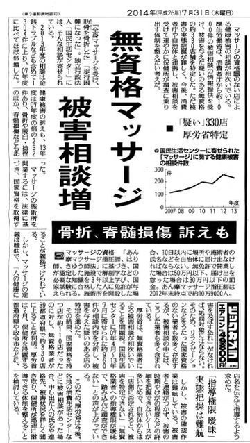 あじさい鍼灸マッサージ治療院 2014年7月31日新聞報道