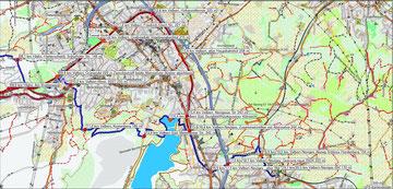 Karte Rinderbachtal (blau) und Niederbergbahn (rot)