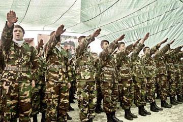 Voila l'armée du Hezbollah au Liban pratiquer le Salut Hitlérien: