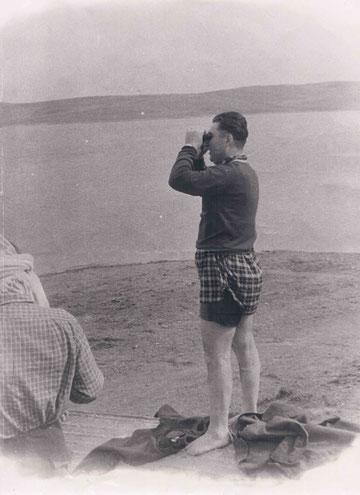 Георгий Симонович Лосавио . 1959 год. Вот так он тренировал, наблюдая с берега в бинокль.