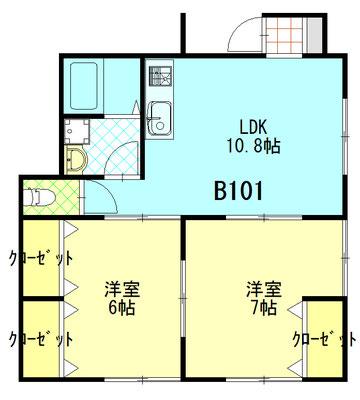 ファミーユ成島 B101 間取図 ※間取り図は現況優先とします。