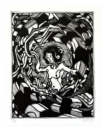 OniRik série 01 / Linogravure réhaussé à la plume, couleur à l'encre et acrylique / 22.5 x 27.5 cm / Edition de 17 ex / 2012