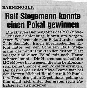 """""""Ralli"""" war auch 1984 als Schüler schon erfolgreich. Artikel aus den Cuxhavener Nachrichten vom 09.05.1984"""