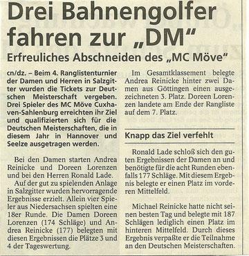 Artikel aus den Cuxhavener Nachrichten vom 03.07.1999