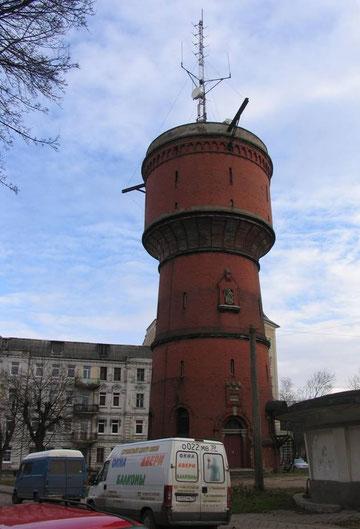 водонапорная башня с гербом города.