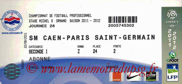 Ticket  Caen-PSG  2011-12