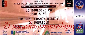 Ticket  Boulogne-PSG  2008-09