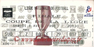Ticket  PSG-Bordeaux  1997-98