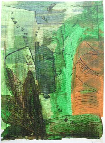 Träumerei im Wald (2014), Mischtechnik mit Acryl auf Aquarellpapier