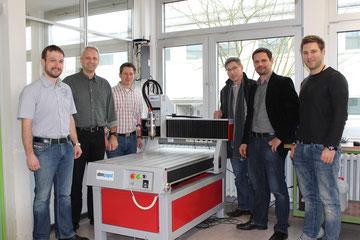 Freuen sich über innovative Technik: (v.l.) Sven Schmieg, Thomas Weniger, Simon Kurfeß, Martin Schmitt, Floriam Nuber und Andreas Kaulbersch