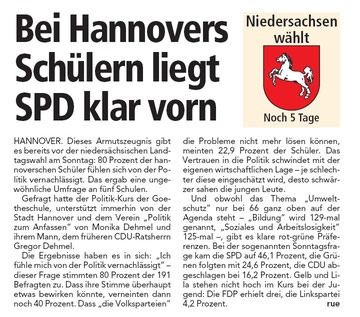 Die Neue Presse über die Umfrage zur Landtagswahl der Goetheschule