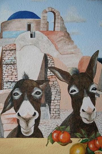 Esel im Teil eines Wandbildes ... Acryl auf Raufaser