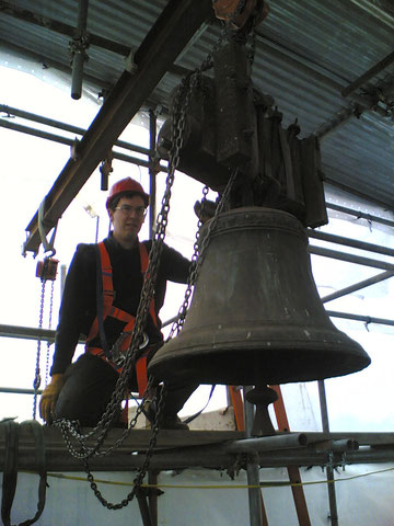 Rehanging the bells in 2007. Image source unknown.