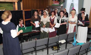 """Chor """"Querbeet"""" beim Einsingen"""