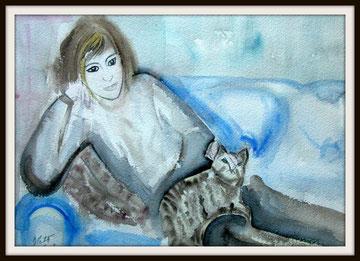 La sieste, aquarelle. D.Petit