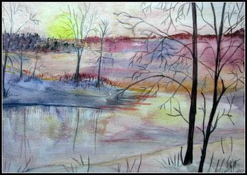Vue sur le lac, aquarelle.D.Petit