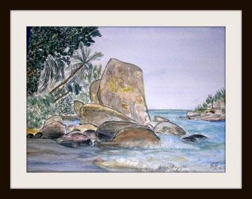 Vue des Seychelles, aquarelle.D.Petit