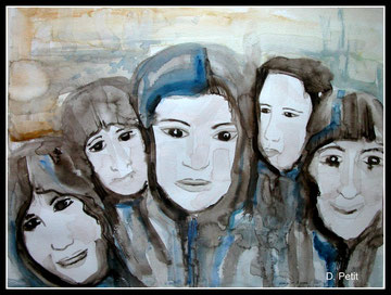 Groupe de femmes, aquarelle.D.Petit